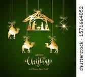 christian christmas. golden... | Shutterstock . vector #1571664052