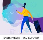 traveling concept banners with... | Shutterstock .eps vector #1571699935