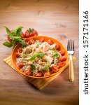 barley risotto with fresh... | Shutterstock . vector #157171166