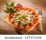 barley risotto with fresh... | Shutterstock . vector #157171196