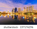 mirror water with night city... | Shutterstock . vector #157176296