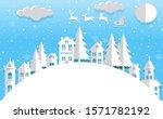 santa claus flying winter... | Shutterstock . vector #1571782192