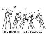 doodle of hands up hands... | Shutterstock .eps vector #1571810902
