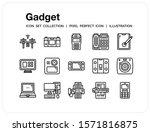 gadget icons set. ui pixel...