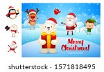 merry christmas card with cute... | Shutterstock .eps vector #1571818495