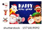 happy new year blue postcard.... | Shutterstock .eps vector #1571819092