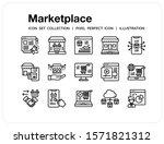 marketplace icons set. ui pixel ...