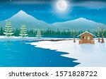 Winter Landscape With A Wooden...
