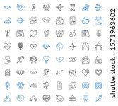 romantic icons set. collection... | Shutterstock .eps vector #1571963602