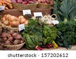 farmers market organic produce | Shutterstock . vector #157202612