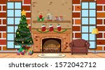 room with christmas tree by the ... | Shutterstock .eps vector #1572042712