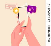 holding phone in hand and rate...   Shutterstock .eps vector #1572092542