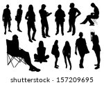 people silhouettes | Shutterstock .eps vector #157209695