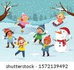 winter outdoor activities with... | Shutterstock .eps vector #1572139492
