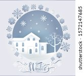 winter paper card decorated by...   Shutterstock . vector #1572147685