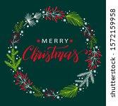 christmas wreath with berries...   Shutterstock .eps vector #1572159958