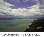 Ranong Pier aerial top view The other side is kawthong Myanmar.