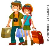 man and woman traveling together | Shutterstock .eps vector #157226846