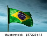 brazil flag waving in the... | Shutterstock . vector #157229645