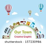 our town with lovely house... | Shutterstock .eps vector #157230986