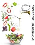 falling vegetables for salad... | Shutterstock . vector #157235282