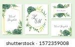 beautiful set of wedding card... | Shutterstock .eps vector #1572359008