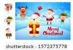 merry christmas card with cute... | Shutterstock .eps vector #1572375778