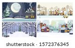 winter city flat vector... | Shutterstock .eps vector #1572376345
