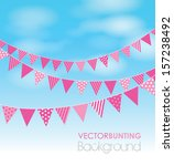 Pink Bunting On A Sky Background