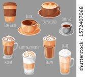 coffee types cartoon style... | Shutterstock .eps vector #1572407068