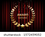 golden award sign with laurel... | Shutterstock .eps vector #1572459052