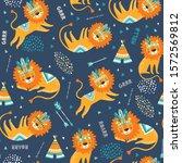 cute tribal lions seamless... | Shutterstock .eps vector #1572569812