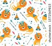 cute tribal lions seamless... | Shutterstock .eps vector #1572569815