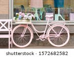 Pink Bike On The Moscow Street