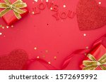 valentine's day mock up. red... | Shutterstock . vector #1572695992