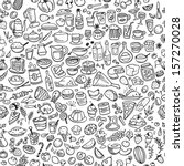 doodle food icons seamless... | Shutterstock .eps vector #157270028