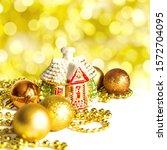 christmas golden decorations ...   Shutterstock . vector #1572704095
