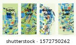 square pixel mosaic distorted... | Shutterstock .eps vector #1572750262