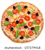 Tasty  Flavorful Pizza Isolated ...