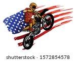 motocross rider on a motorcycle ...   Shutterstock .eps vector #1572854578