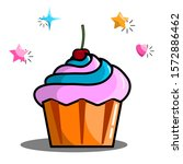 colorful cupcake with cherry on ... | Shutterstock .eps vector #1572886462