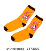 Pair of funny orange children socks isolated on white background with clipping path - stock photo