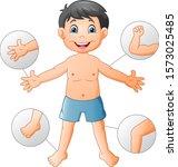 cartoon boy vocabulary human... | Shutterstock . vector #1573025485
