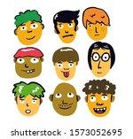 Cartoon Doodle Man Expression...