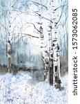 Winter Colorful Landscape Of...
