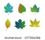 autumn leaves icons | Shutterstock .eps vector #157306286
