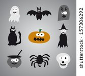 halloween icons | Shutterstock .eps vector #157306292