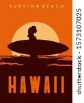 Surfing Beach Hawaii Poster...