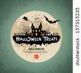 halloween treats message design ... | Shutterstock .eps vector #157315235