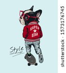 style slogan with stylist dog... | Shutterstock .eps vector #1573176745
